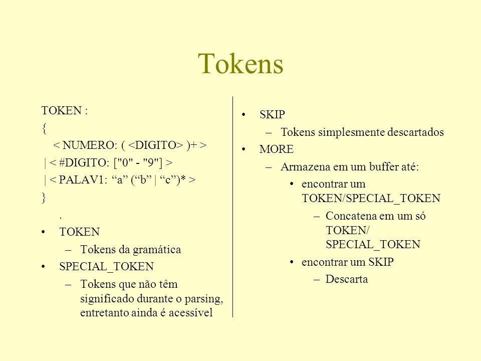 Tokens TOKEN : { )+ > | }. TOKEN –Tokens da gramática SPECIAL_TOKEN –Tokens que não têm significado durante o parsing, entretanto ainda é acessível SK