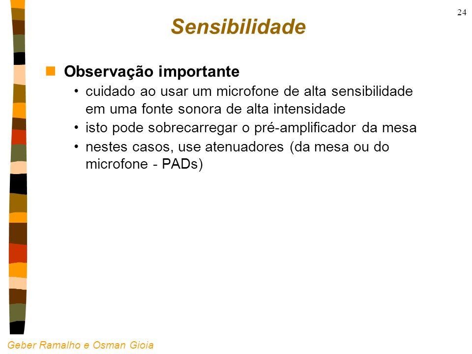 Geber Ramalho e Osman Gioia 24 Sensibilidade nObservação importante cuidado ao usar um microfone de alta sensibilidade em uma fonte sonora de alta int