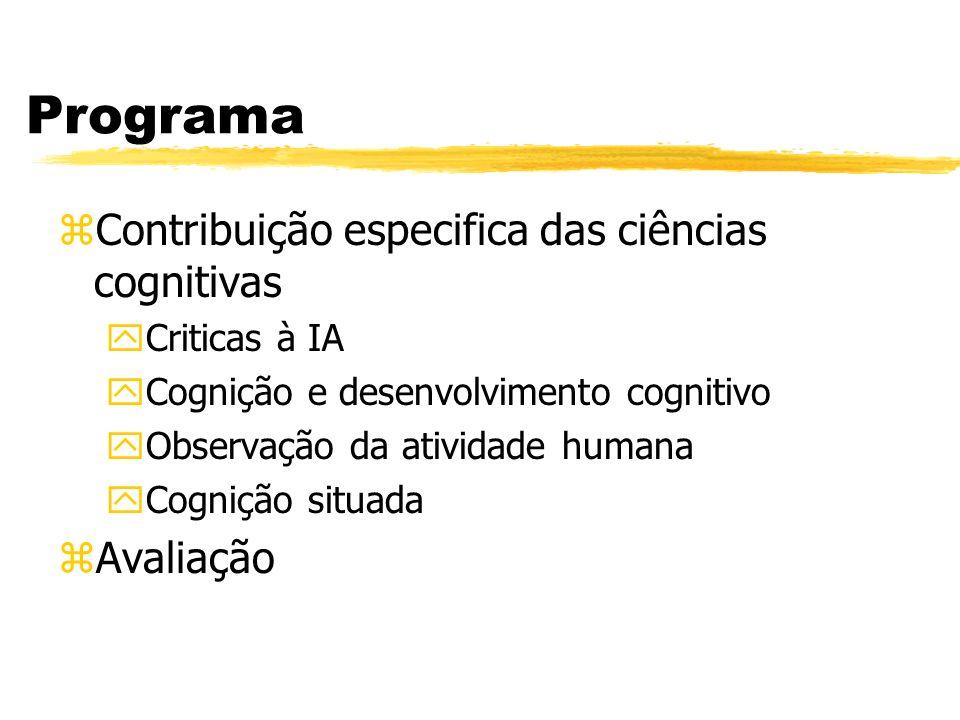Programa zContribuição especifica das ciências cognitivas yCriticas à IA yCognição e desenvolvimento cognitivo yObservação da atividade humana yCogniç