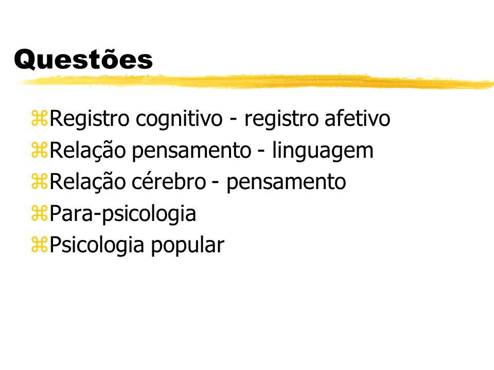 Questões zRegistro cognitivo - registro afetivo zRelação pensamento - linguagem zRelação cérebro - pensamento zPara-psicologia zPsicologia popular