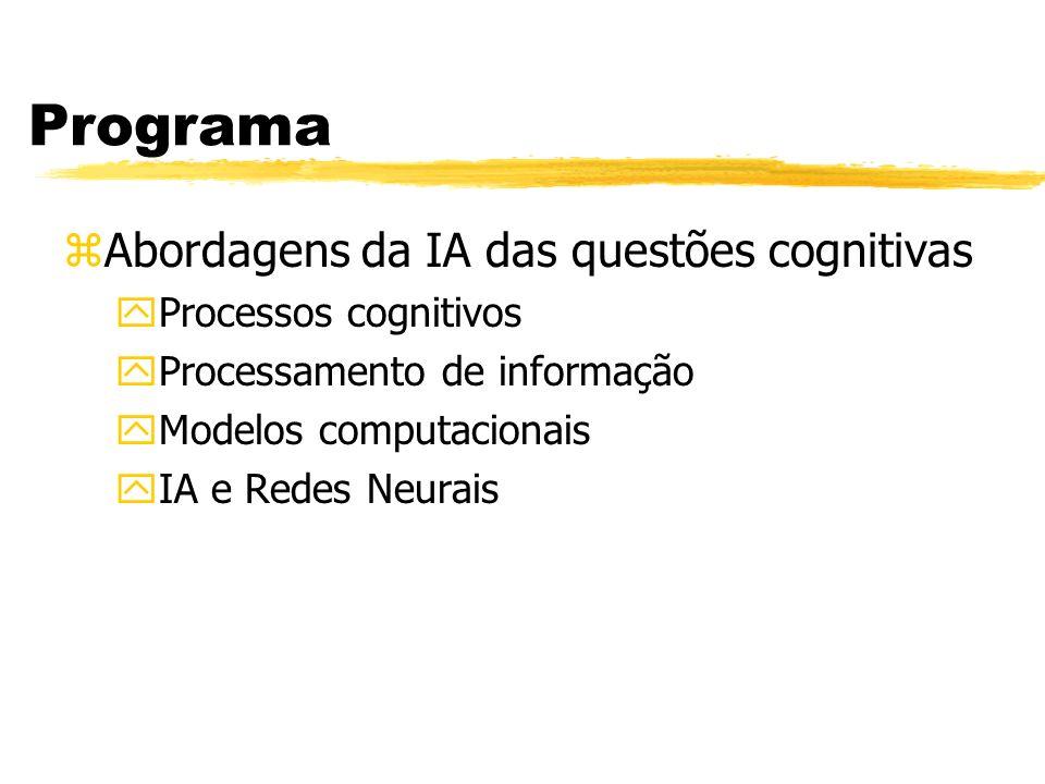 Programa zAbordagens da IA das questões cognitivas yProcessos cognitivos yProcessamento de informação yModelos computacionais yIA e Redes Neurais