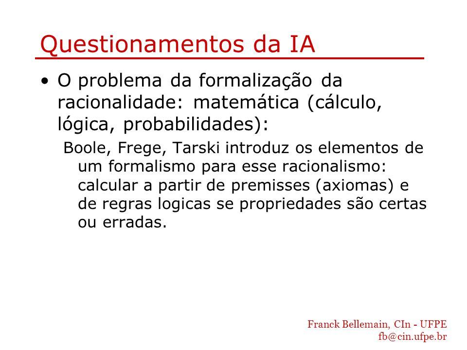 Franck Bellemain, CIn - UFPE fb@cin.ufpe.br Questionamentos da IA O problema da formalização da racionalidade: matemática (cálculo, lógica, probabilid