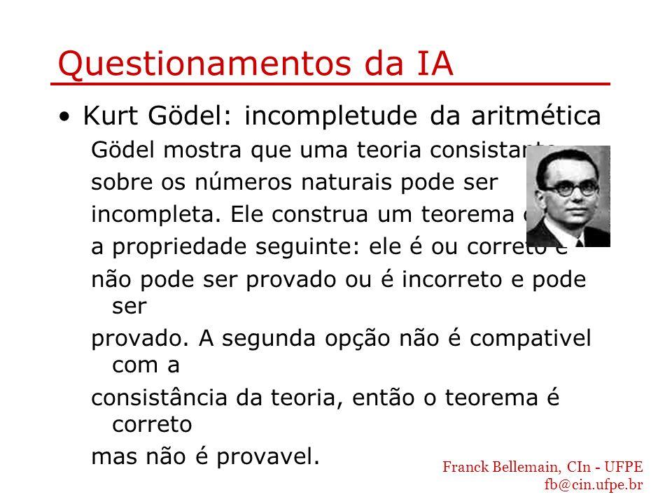 Franck Bellemain, CIn - UFPE fb@cin.ufpe.br Questionamentos da IA Kurt Gödel: incompletude da aritmética Gödel mostra que uma teoria consistante sobre