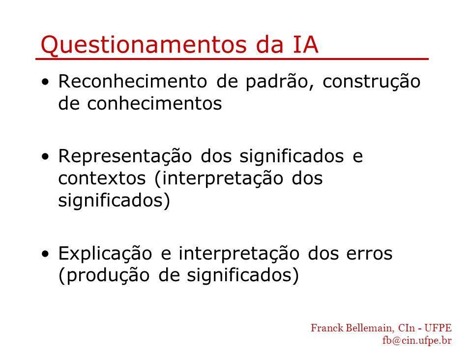 Franck Bellemain, CIn - UFPE fb@cin.ufpe.br Questionamentos da IA Reconhecimento de padrão, construção de conhecimentos Representação dos significados