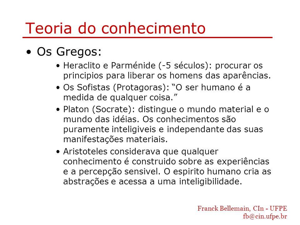 Franck Bellemain, CIn - UFPE fb@cin.ufpe.br Teoria do conhecimento Os Gregos: Heraclito e Parménide (-5 séculos): procurar os principios para liberar