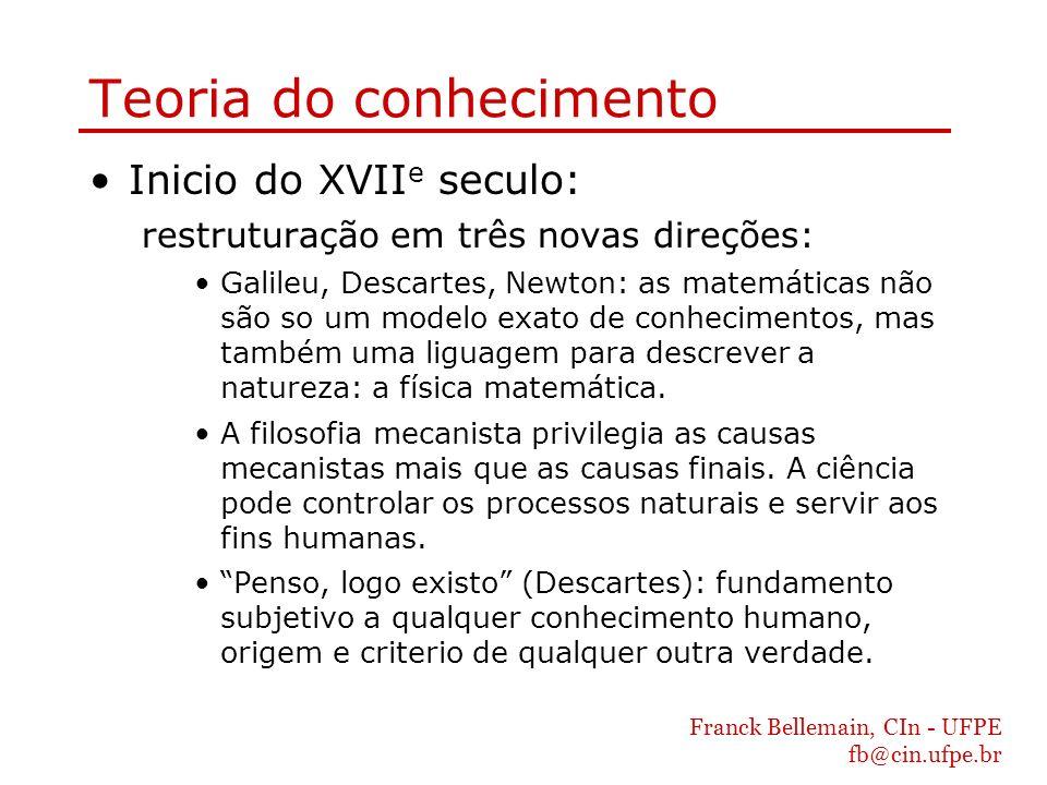 Franck Bellemain, CIn - UFPE fb@cin.ufpe.br Teoria do conhecimento Inicio do XVII e seculo: restruturação em três novas direções: Galileu, Descartes,