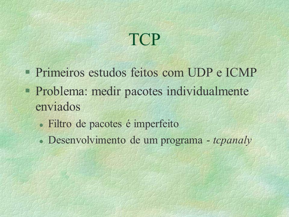 TCP §Primeiros estudos feitos com UDP e ICMP §Problema: medir pacotes individualmente enviados l Filtro de pacotes é imperfeito l Desenvolvimento de um programa - tcpanaly