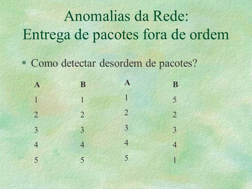 Anomalias da Rede: Entrega de pacotes fora de ordem §Como detectar desordem de pacotes.