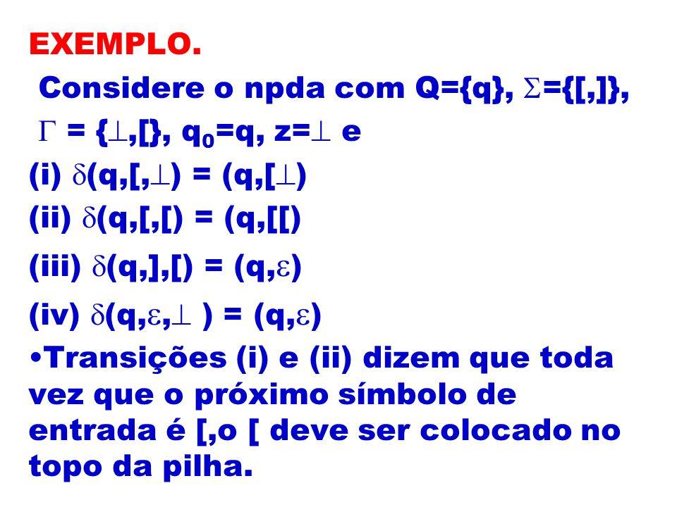 EXEMPLO. Considere o npda com Q={q}, ={[,]}, = {,[}, q 0 =q, z= e (i) (q,[, ) = (q,[ ) (ii) (q,[,[) = (q,[[) (iii) (q,],[) = (q, ) (iv) (q,, ) = (q, )