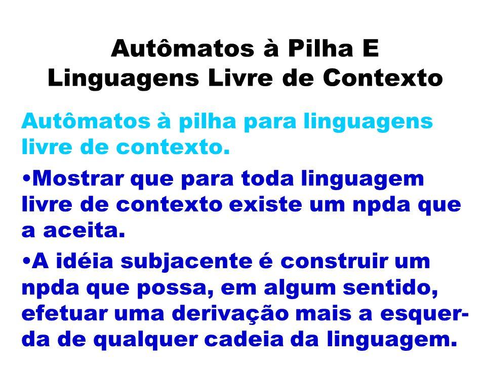Autômatos à Pilha E Linguagens Livre de Contexto Autômatos à pilha para linguagens livre de contexto. Mostrar que para toda linguagem livre de context