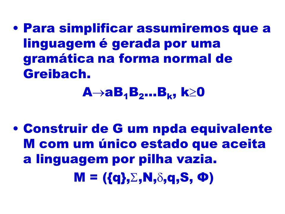 Para simplificar assumiremos que a linguagem é gerada por uma gramática na forma normal de Greibach. A aB 1 B 2 …B k, k 0 Construir de G um npda equiv