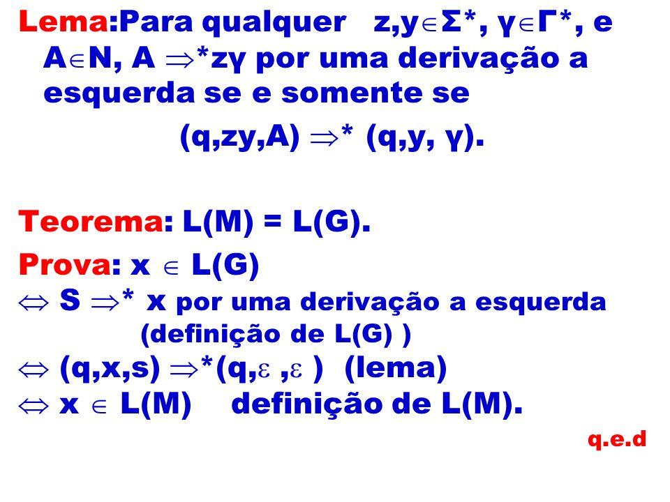 Lema:Para qualquer z,y Σ*, γ Г*, e A N, A *zγ por uma derivação a esquerda se e somente se (q,zy,A) * (q,y, γ). Teorema: L(M) = L(G). Prova: x L(G) S