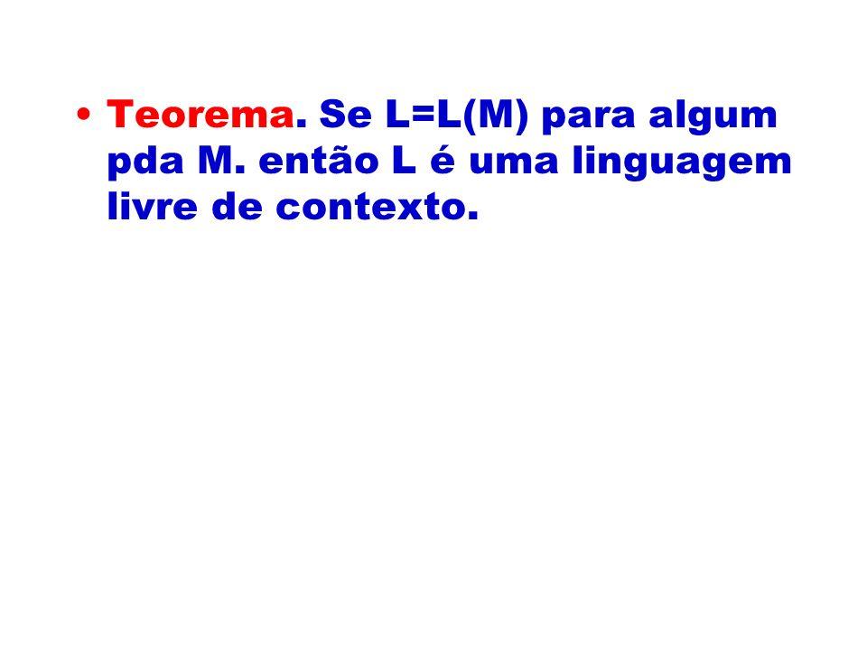 Teorema. Se L=L(M) para algum pda M. então L é uma linguagem livre de contexto.