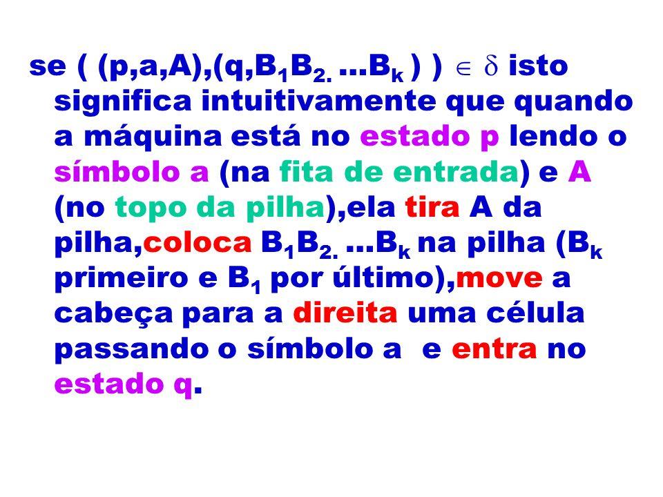 se ( (p,a,A),(q,B 1 B 2. …B k ) ) isto significa intuitivamente que quando a máquina está no estado p lendo o símbolo a (na fita de entrada) e A (no t