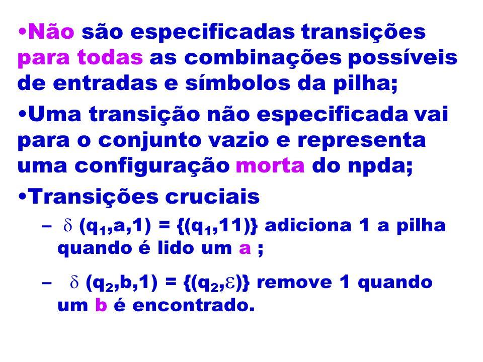 Não são especificadas transições para todas as combinações possíveis de entradas e símbolos da pilha; Uma transição não especificada vai para o conjun