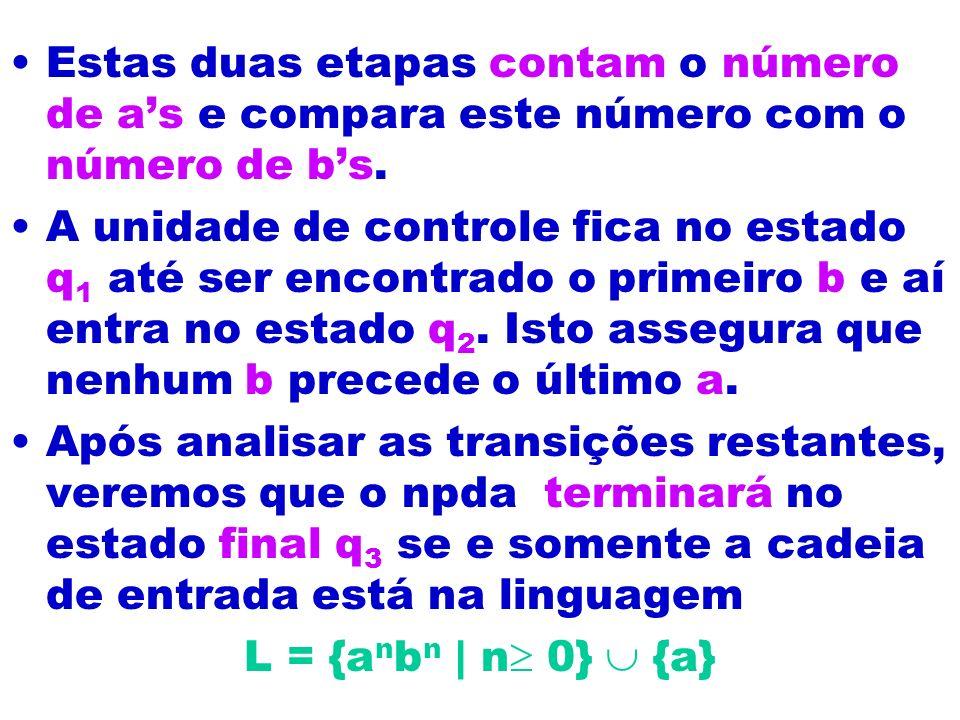 Estas duas etapas contam o número de as e compara este número com o número de bs. A unidade de controle fica no estado q 1 até ser encontrado o primei