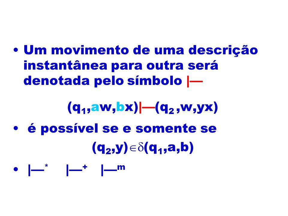 Um movimento de uma descrição instantânea para outra será denotada pelo símbolo | (q 1,aw,bx)|(q 2,w,yx) é possível se e somente se (q 2,y) (q 1,a,b)