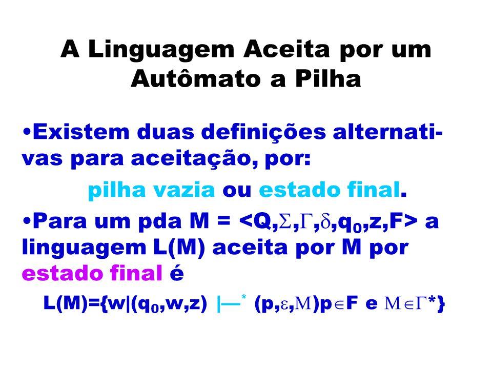 A Linguagem Aceita por um Autômato a Pilha Existem duas definições alternati- vas para aceitação, por: pilha vazia ou estado final. Para um pda M = a