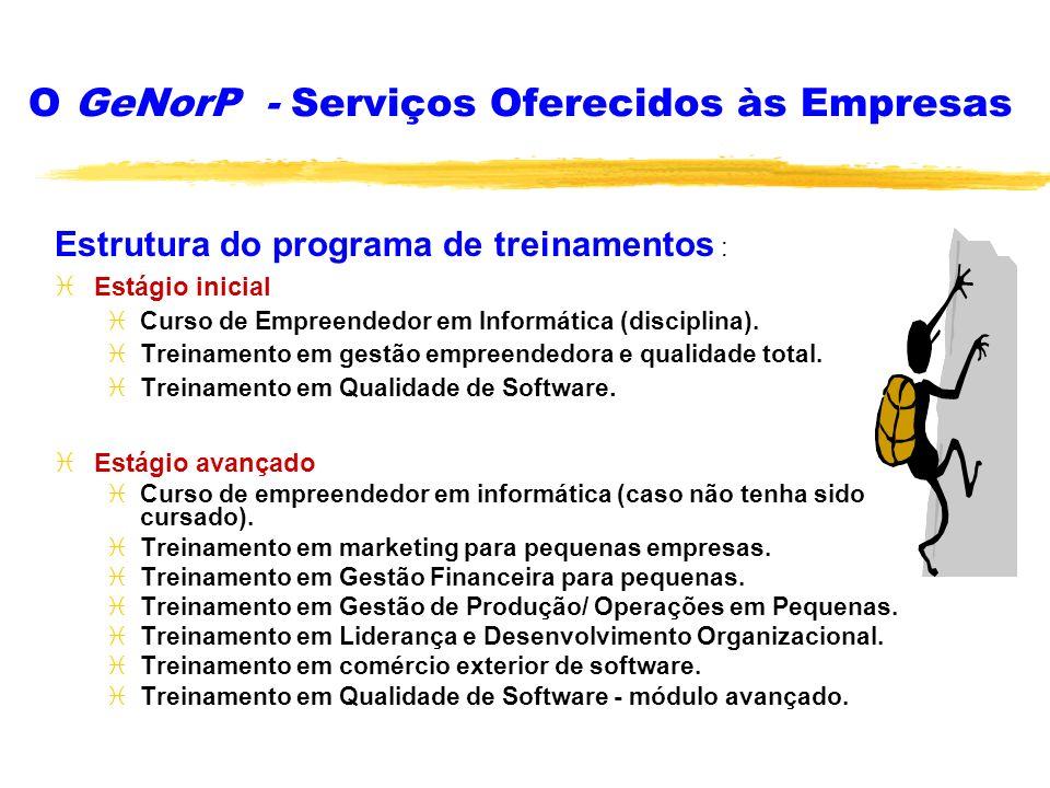 O GeNorP - Serviços Oferecidos às Empresas Estrutura do programa de treinamentos : iEstágio inicial iCurso de Empreendedor em Informática (disciplina)