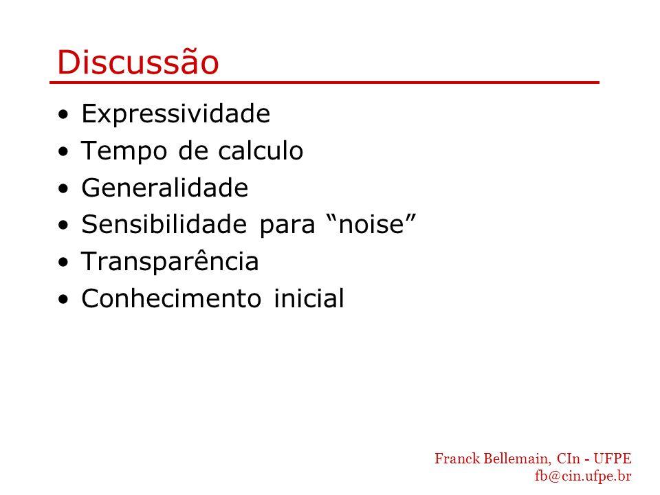 Franck Bellemain, CIn - UFPE fb@cin.ufpe.br Discussão Expressividade Tempo de calculo Generalidade Sensibilidade para noise Transparência Conhecimento