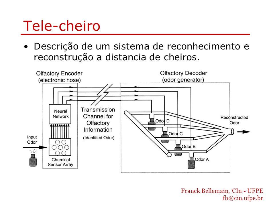 Franck Bellemain, CIn - UFPE fb@cin.ufpe.br Tele-cheiro Descrição de um sistema de reconhecimento e reconstrução a distancia de cheiros.