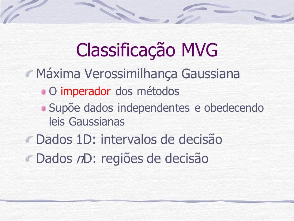 Classificação MVG Máxima Verossimilhança Gaussiana O imperador dos métodos Supõe dados independentes e obedecendo leis Gaussianas Dados 1D: intervalos