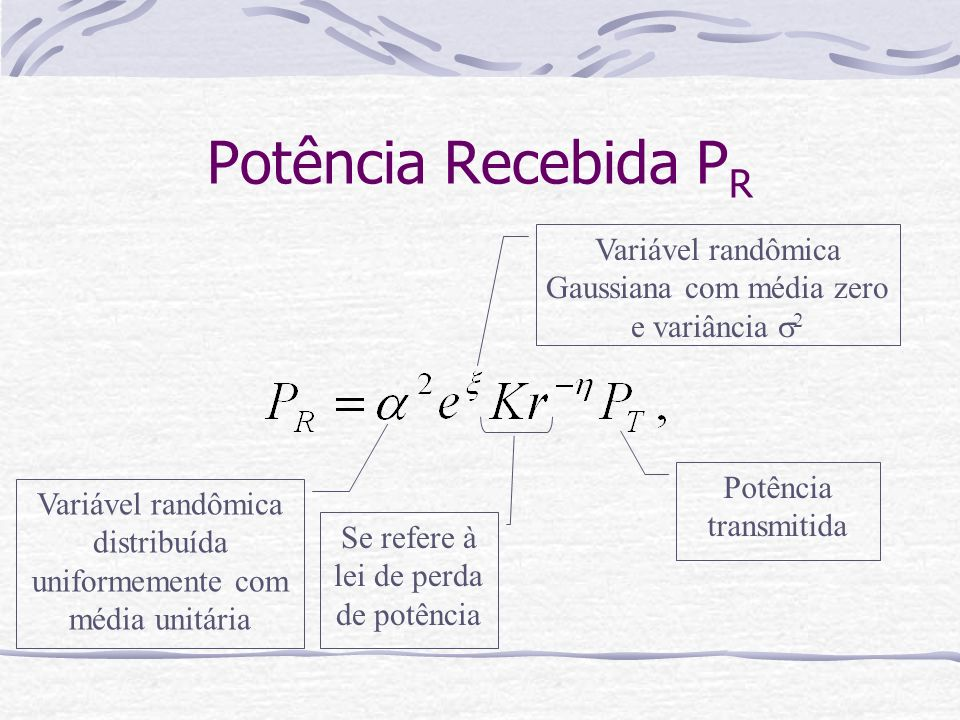 Potência Recebida P R Variável randômica distribuída uniformemente com média unitária Variável randômica Gaussiana com média zero e variância 2 Se ref