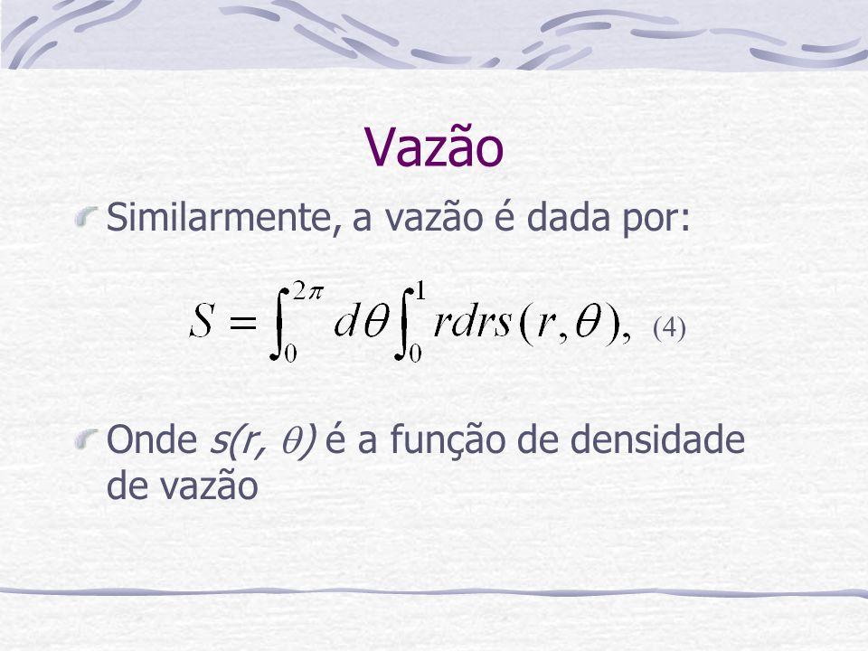 Vazão Similarmente, a vazão é dada por: Onde s(r, ) é a função de densidade de vazão (4)