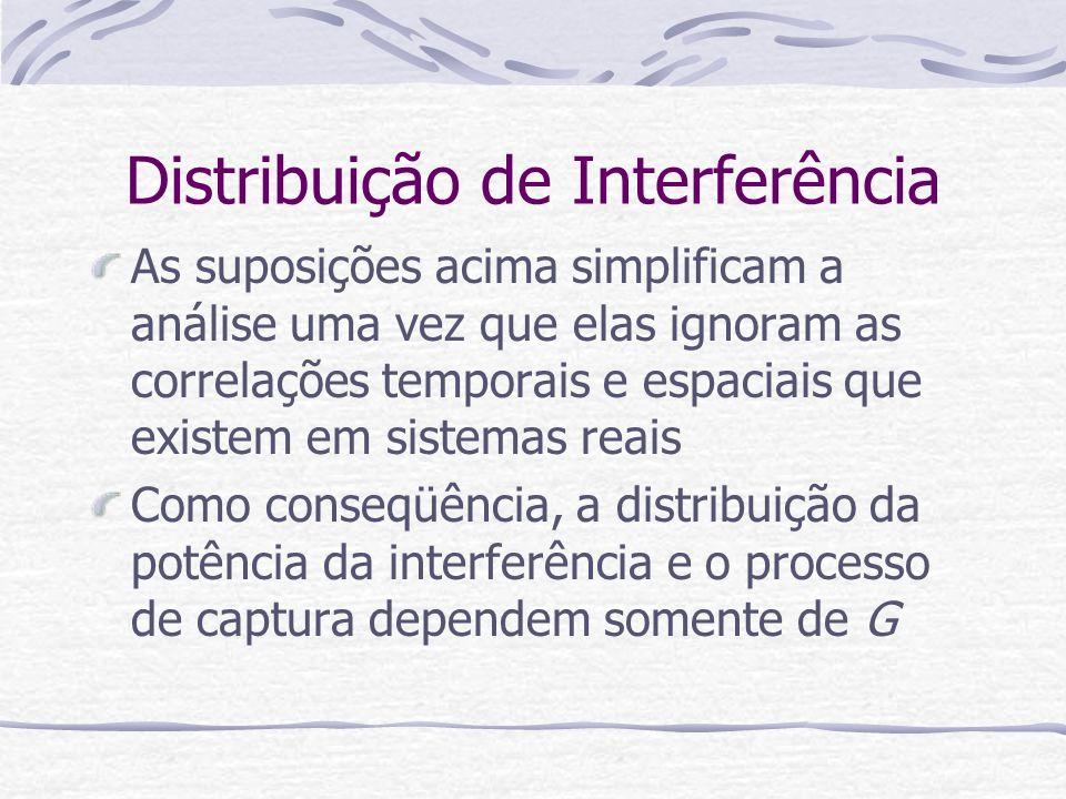 Distribuição de Interferência As suposições acima simplificam a análise uma vez que elas ignoram as correlações temporais e espaciais que existem em s