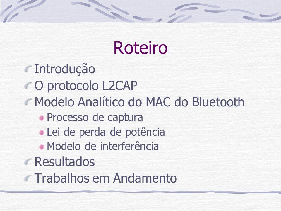 Roteiro Introdução O protocolo L2CAP Modelo Analítico do MAC do Bluetooth Processo de captura Lei de perda de potência Modelo de interferência Resulta