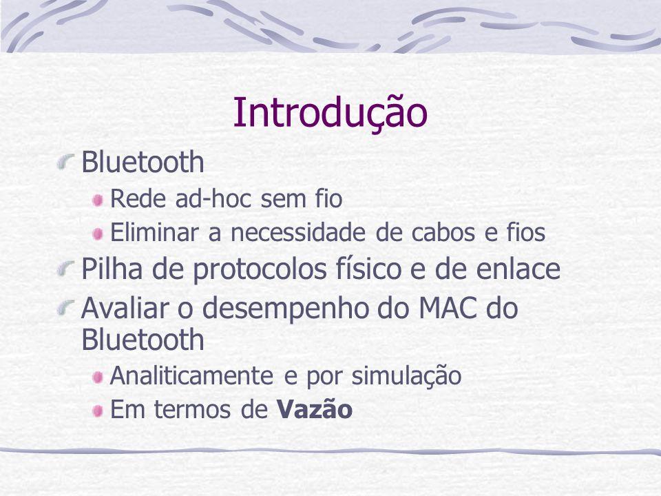 Introdução Bluetooth Rede ad-hoc sem fio Eliminar a necessidade de cabos e fios Pilha de protocolos físico e de enlace Avaliar o desempenho do MAC do