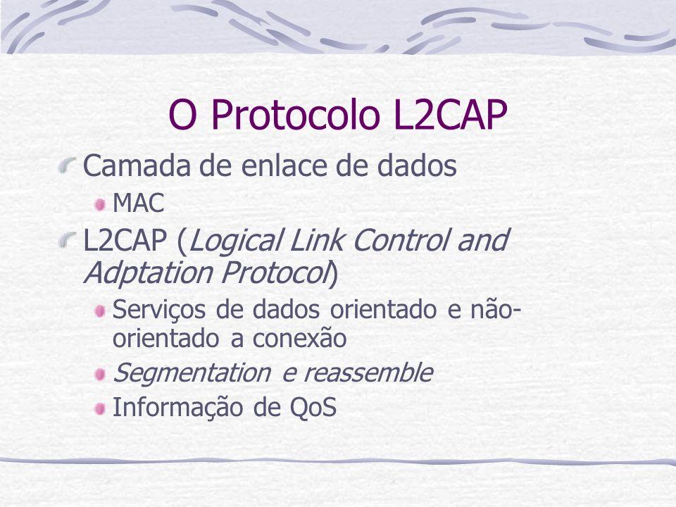 O Protocolo L2CAP Camada de enlace de dados MAC L2CAP (Logical Link Control and Adptation Protocol) Serviços de dados orientado e não- orientado a con