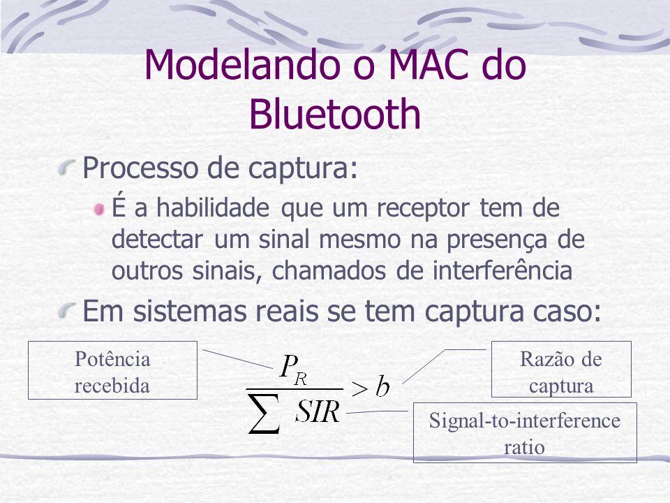 Modelando o MAC do Bluetooth Processo de captura: É a habilidade que um receptor tem de detectar um sinal mesmo na presença de outros sinais, chamados
