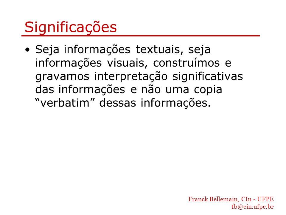 Franck Bellemain, CIn - UFPE fb@cin.ufpe.br Significações Seja informações textuais, seja informações visuais, construímos e gravamos interpretação si