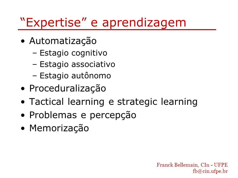 Franck Bellemain, CIn - UFPE fb@cin.ufpe.br Expertise e aprendizagem Automatização –Estagio cognitivo –Estagio associativo –Estagio autônomo Procedura