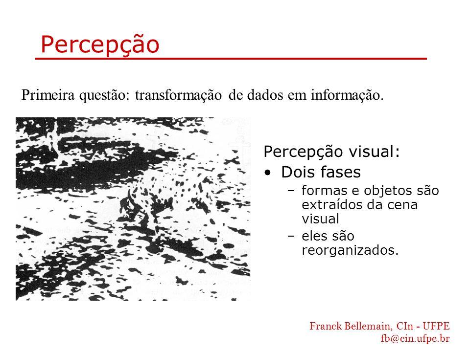 Franck Bellemain, CIn - UFPE fb@cin.ufpe.br Percepção Percepção visual: Dois fases –formas e objetos são extraídos da cena visual –eles são reorganiza
