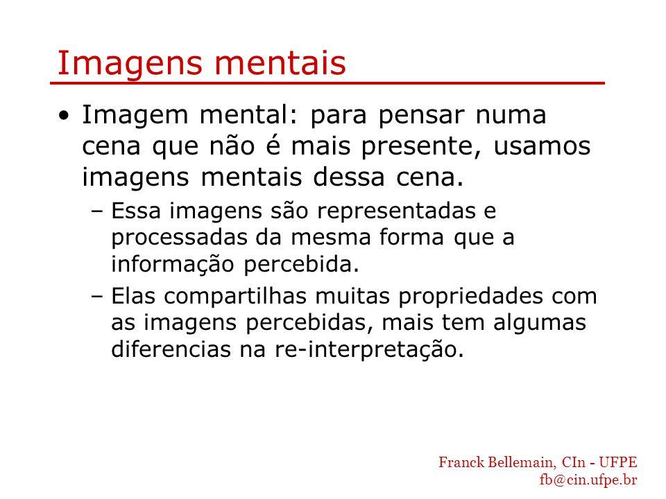 Franck Bellemain, CIn - UFPE fb@cin.ufpe.br Imagens mentais Imagem mental: para pensar numa cena que não é mais presente, usamos imagens mentais dessa