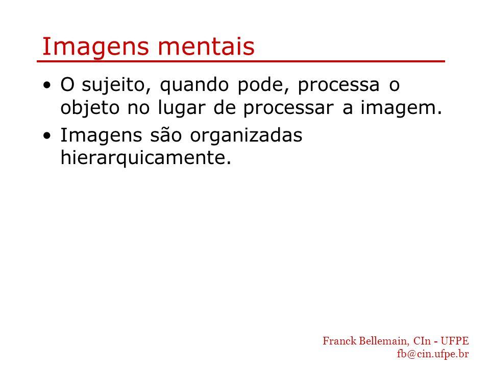 Franck Bellemain, CIn - UFPE fb@cin.ufpe.br Imagens mentais O sujeito, quando pode, processa o objeto no lugar de processar a imagem. Imagens são orga