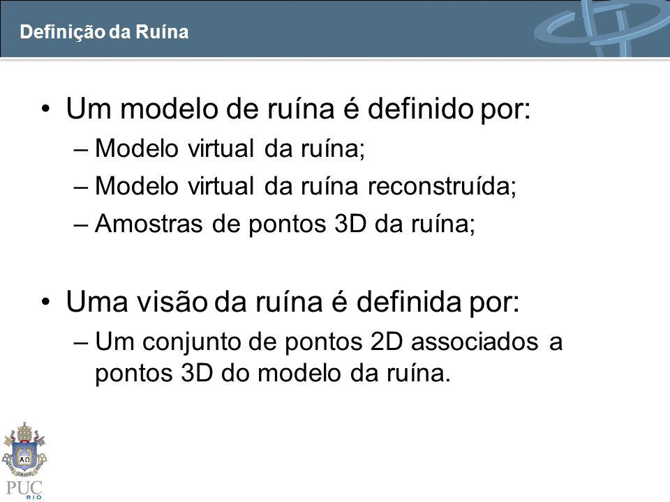 Definição da Ruína Um modelo de ruína é definido por: –Modelo virtual da ruína; –Modelo virtual da ruína reconstruída; –Amostras de pontos 3D da ruína