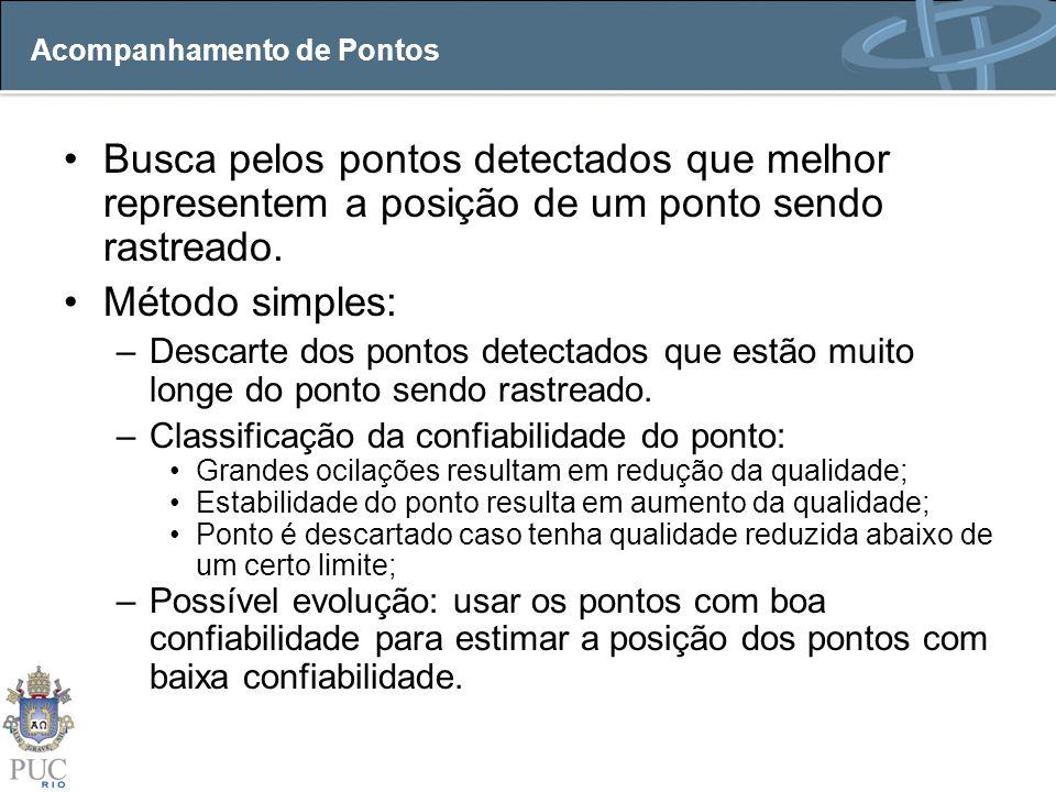 Acompanhamento de Pontos Busca pelos pontos detectados que melhor representem a posição de um ponto sendo rastreado. Método simples: –Descarte dos pon