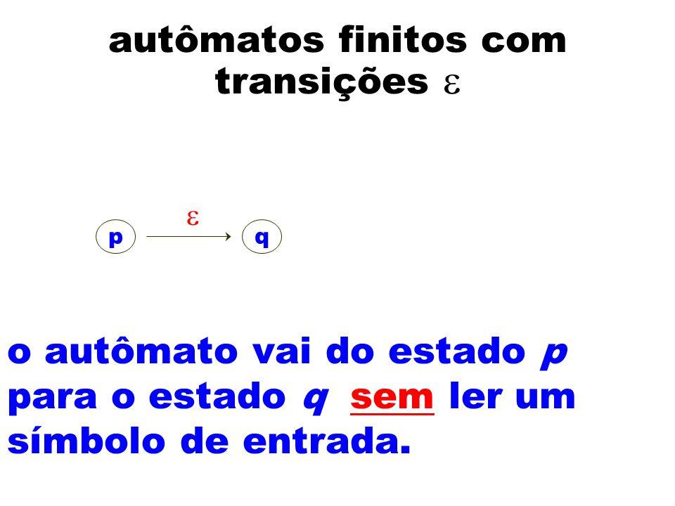 autômatos finitos com transições o autômato vai do estado p para o estado q sem ler um símbolo de entrada. pq