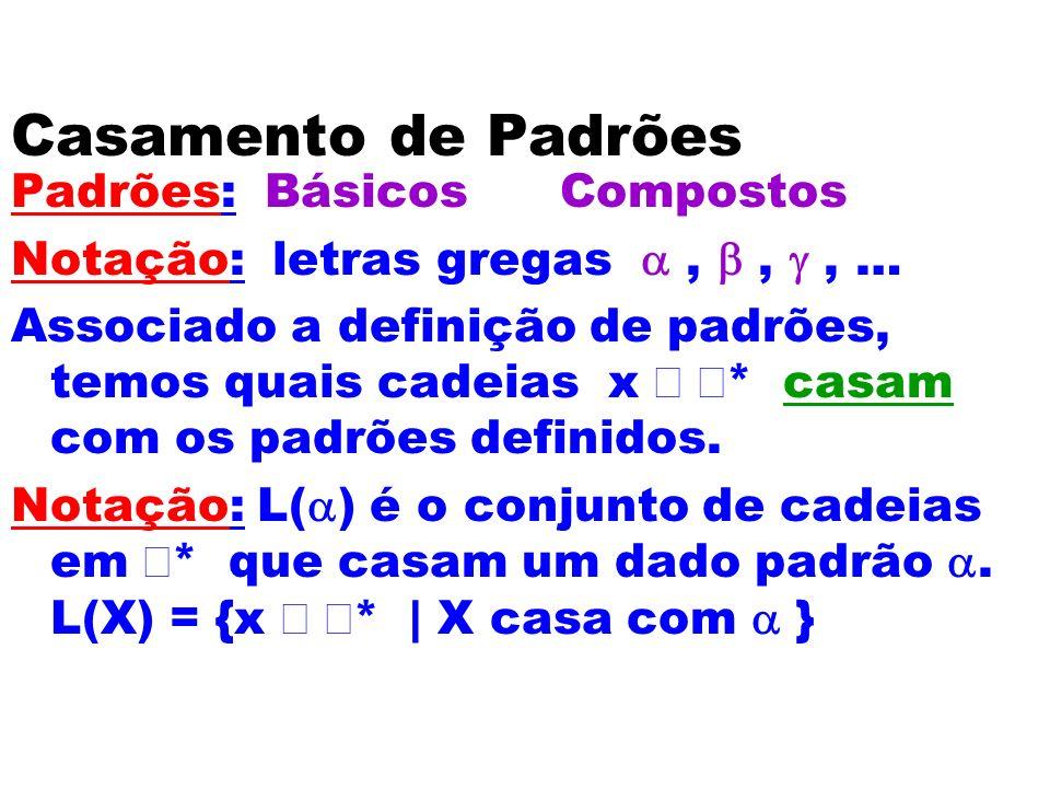 Casamento de Padrões Padrões: Básicos Compostos Notação: letras gregas,,, … Associado a definição de padrões, temos quais cadeias x * casam com os pad