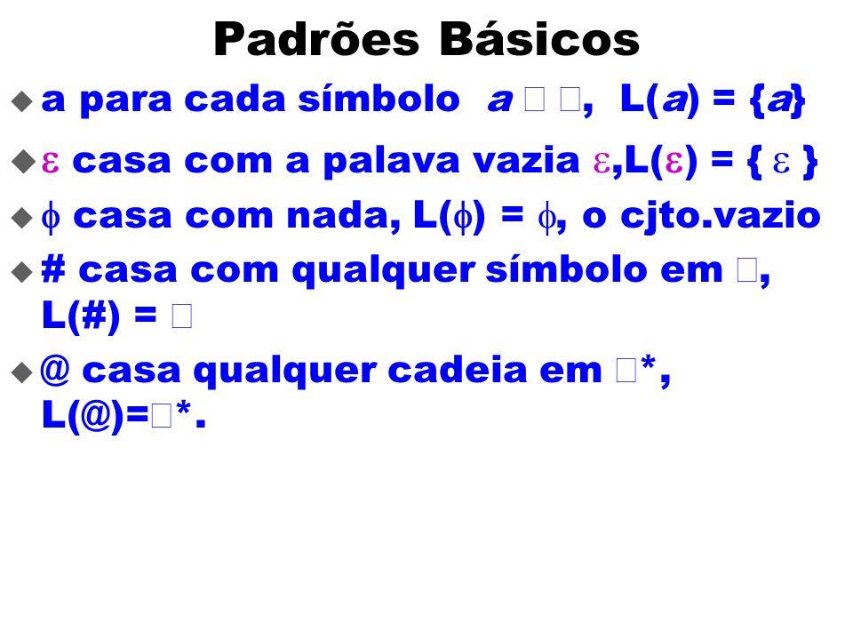Padrões Básicos a para cada símbolo a, L(a) = {a} casa com a palava vazia,L( ) = { } casa com nada, L( ) =, o cjto.vazio # casa com qualquer símbolo e