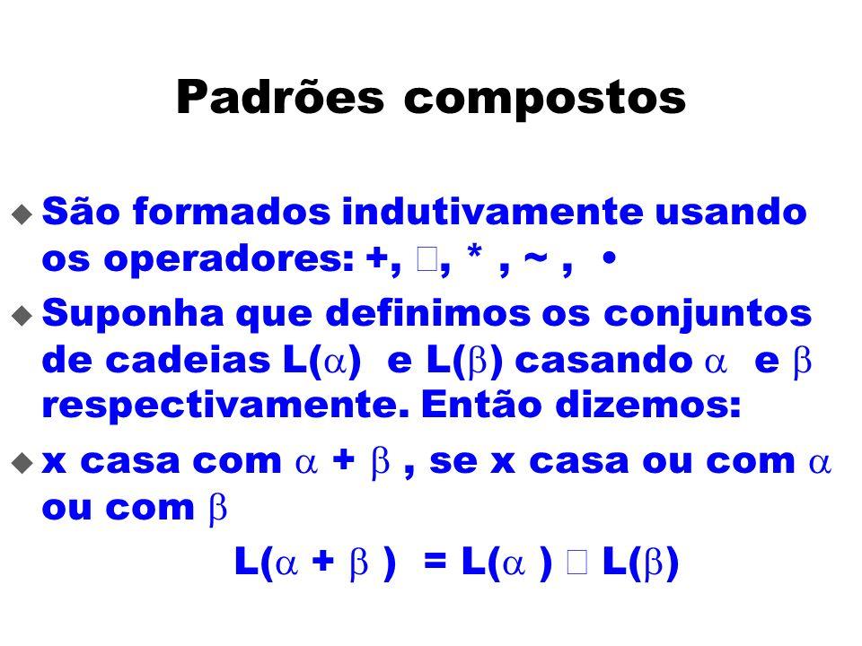 Padrões compostos São formados indutivamente usando os operadores: +,, *, ~, Suponha que definimos os conjuntos de cadeias L( ) e L( ) casando e respe