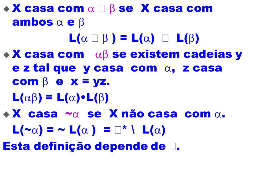 X casa com se X casa com ambos e L( ) = L( ) L( ) X casa com se existem cadeias y e z tal que y casa com, z casa com e x = yz. L( ) = L( )L( ) X casa