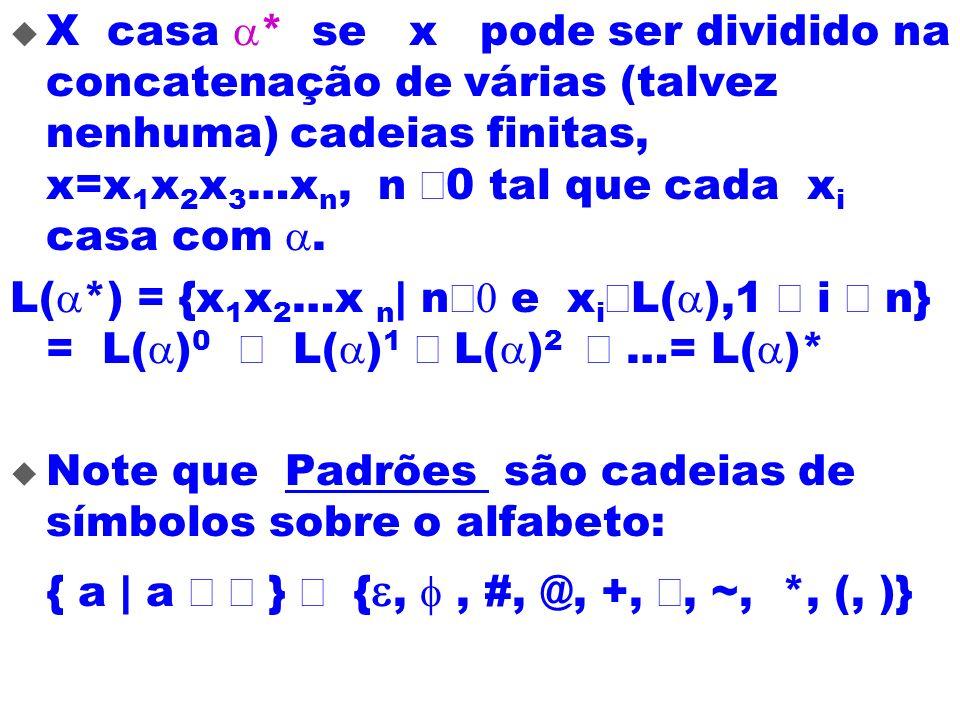 X casa * se x pode ser dividido na concatenação de várias (talvez nenhuma) cadeias finitas, x=x 1 x 2 x 3 …x n, n 0 tal que cada x i casa com. L( *) =