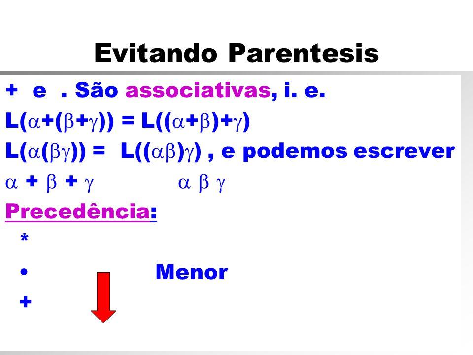 Evitando Parentesis + e. São associativas, i. e. L( +( + )) = L(( + )+ ) L( ( )) = L(( ) ), e podemos escrever + + Precedência: * Menor +