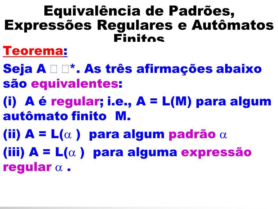 Equivalência de Padrões, Expressões Regulares e Autômatos Finitos Teorema: Seja A *. As três afirmações abaixo são equivalentes: (i) A é regular; i.e.