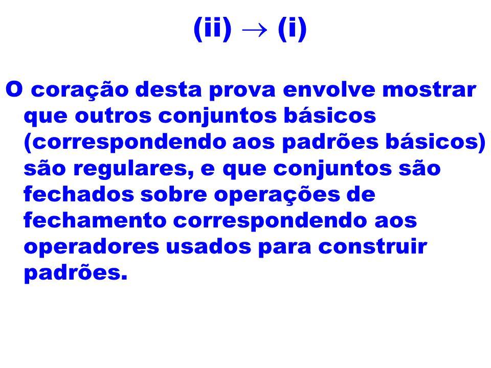 (ii) (i) O coração desta prova envolve mostrar que outros conjuntos básicos (correspondendo aos padrões básicos) são regulares, e que conjuntos são fe