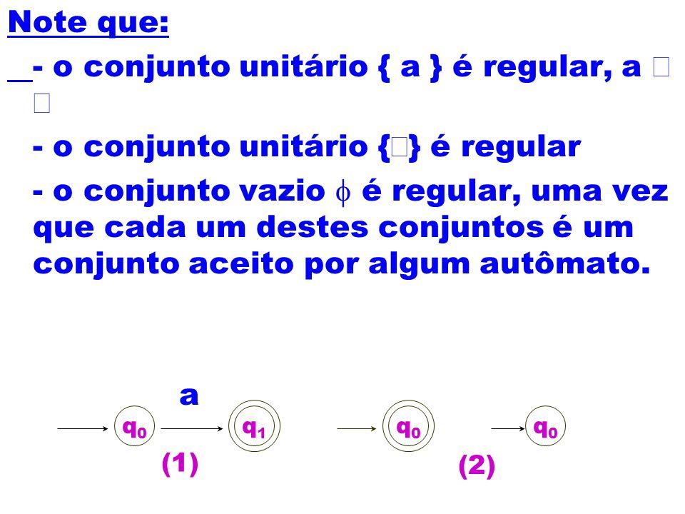 Note que: - o conjunto unitário { a } é regular, a - o conjunto unitário { } é regular - o conjunto vazio é regular, uma vez que cada um destes conjun